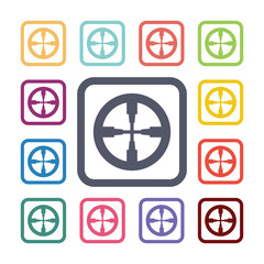 optical sight flat icons set