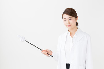 young asian doctor on white background