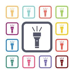 flashlight flat icons set
