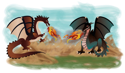 Two fantastic dragons, vector illustration