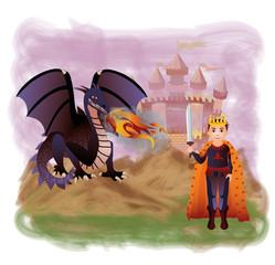 Young king and magic dragon, vector illustration