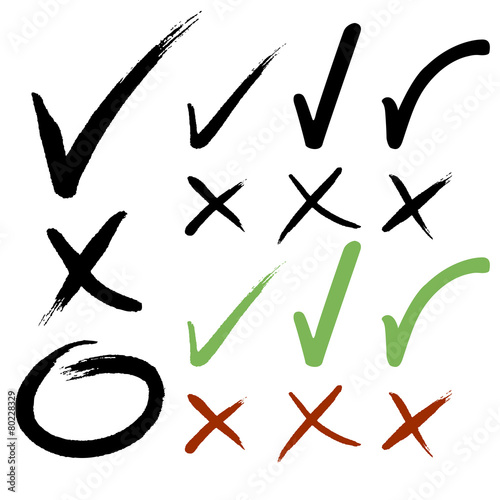 Hand drawn Check mark buttons. Vector illustration. - 80228329