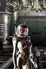 Girl in spacesuit