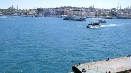ISTANBUL - JUL 2: (Timelapse View) Walking ship sails from mooring with passengers on Karakoy-Kadikoy ferry, on Jul 2, 2012 in Istanbul, Turkey