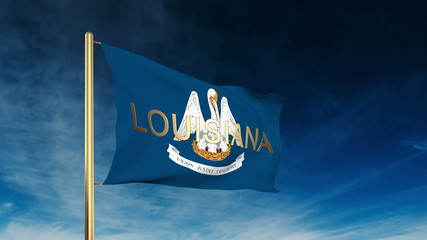 louisiana flag slider style with title. Waving in the wind with