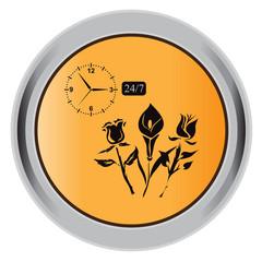 flower, button, icon, vector, illustration