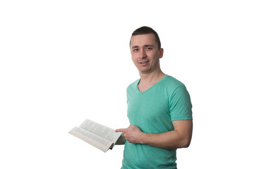 Man Pointing To Book Isolated On White Background