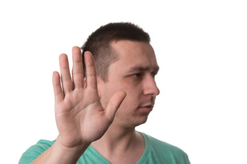 Man Doing A Stop Symbol - White Background