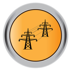 button,  High, voltage, tower, line, vector, illustration, icon