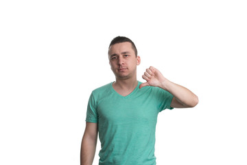 Man Lowered His Fist With The Thumb Down