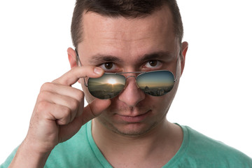 Man Wearing Fashionable Sunglasses On Isolated White Background