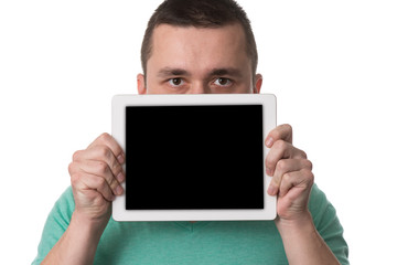 Man Showing Blank Taplet Pc On White Background