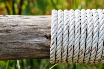 rope tied around a wooden log