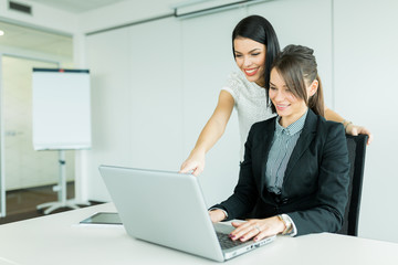 Businesswomen discussing achievements while smiling