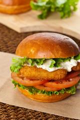 Fish burger. Selective focus.