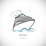 Label Sea cruise. Ocean liner
