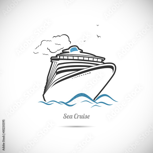 Label Sea cruise. Ocean liner - 80230395