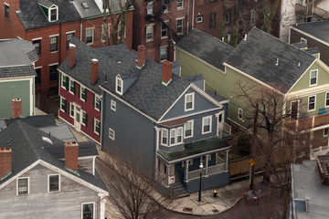 Overhead view of typical Boston homes
