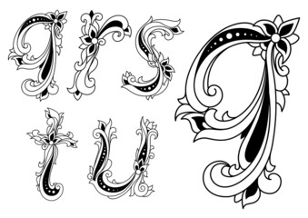 Floral alphabet letters in retro style