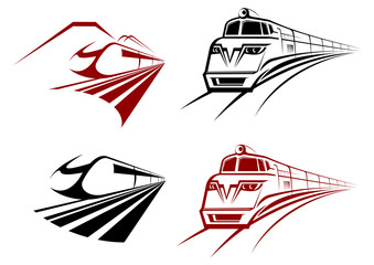 Stylized speeding train or subway icons