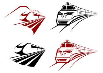 Stylized speeding train or subway icons