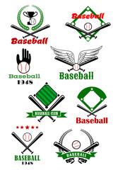 Baseball game sporting emblems and symbols