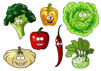 Fresh healthy cartoon vegetables characters