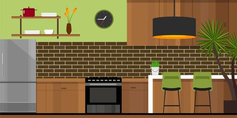kitchen interior with wood interior in vector illustration green