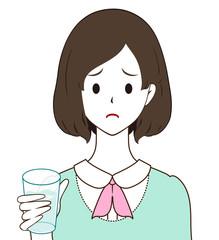 女性 水 困り顔