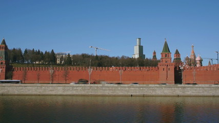 Kremlin churches and towers view from the left bank Moscow river