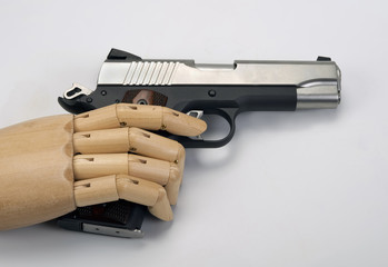 45  caliber handgun.