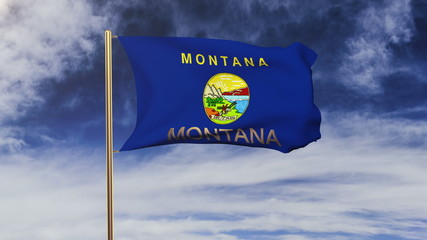 montana flag with title waving in the wind. Looping sun rises