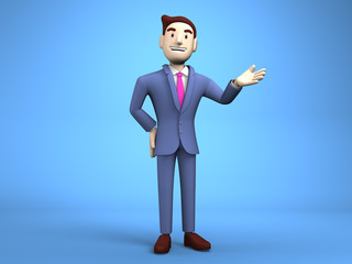 Young Businessman On Blue Background