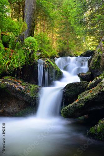Waterfall in the national park Sumava-Czech Republic - 80233161