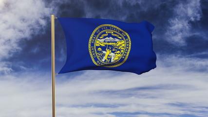 nebraska flag waving in the wind. Green screen, alpha matte