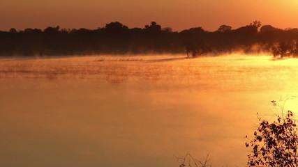 Mist over water at sunrise, Zambezi river