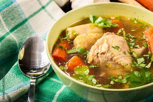 Deurstickers Klaar gerecht Chicken broth with noodles and carrot