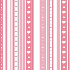 Seamless striped pattern with hearts