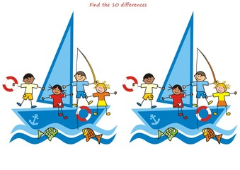 children and sailboat, find ten differences
