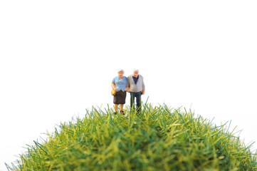 緑の丸い芝生を歩く高齢の夫婦