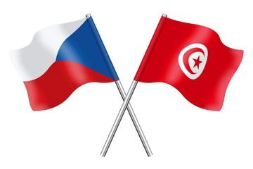 Flags: Czech Republic and Tunisia