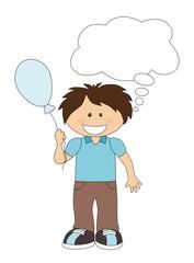 Cartoon boy with balloon and speech bubble