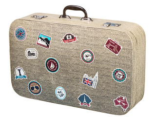 old suitcase traveler isolated