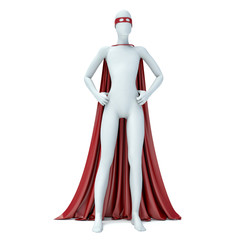3d man superhero in red cloak