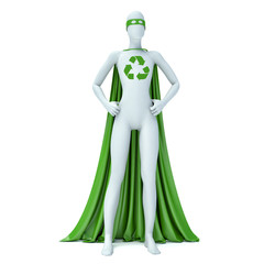 3d white people ecological superhero with recycle sign, isolated