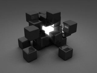 Different Shiny Light Cube Incide Of Dark Group. Individuality C