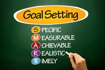 SMART Goal Setting, business concept on blackboard