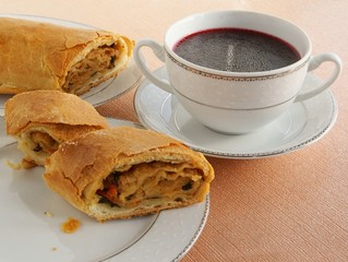 strudel with mushrooms and vegetables and red beet soup