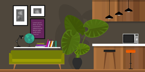 living room interior furniture in flat vector illustration