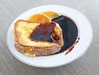 roasted toast with cherry juice for breakfast